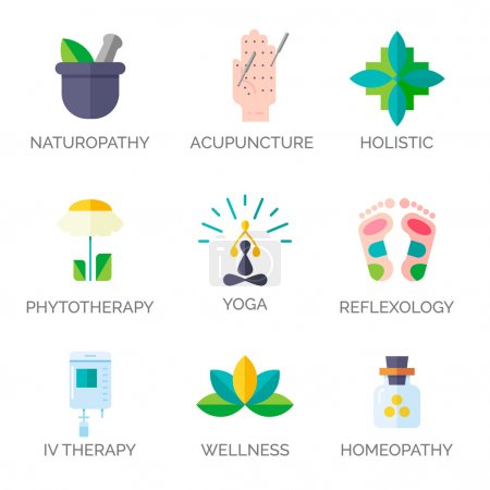 Illustration for Modern flat style. Holistic center, naturopathic medicine, homeopathy, acupuncture, ayurveda, chinese medicine, womans health. For web site, print design, business card. - Royalty Free Image
