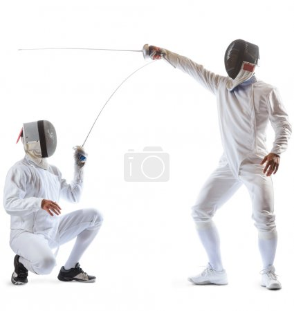 Fencing athletes or players isolated in white back...