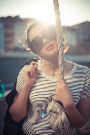 Photo for Stylish hipster girl in the denim and sunglasses in the city high fashion shot summer look - Royalty Free Image