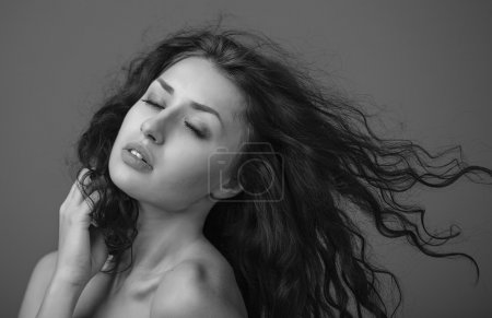 Photo for Beautiful woman with curly hair and evening make-up. Beauty. Fashion art photo vogue shot - Royalty Free Image
