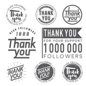 Set of vintage Thank you badges labels and stickers for followers on white background