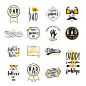 Happy fathers day wishes overlays lettering labels design set Retro father badges Hand drawn emblems with tie mustache glasses hand Isolated sign or logo for photo greeting web print
