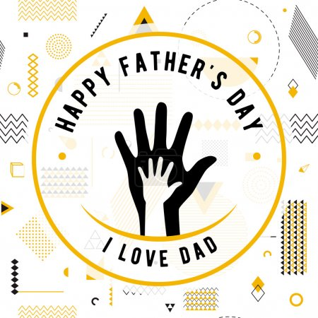 Illustration for Happy fathers day wishes design vector background on seamless pattern. Fashion father line greeting. Father poster for print or web design. Modern holiday wishes. Hipster gold style - Royalty Free Image