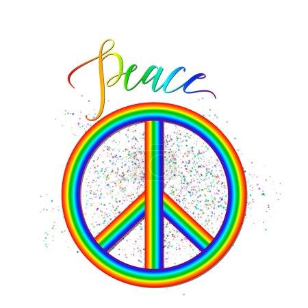 Illustration pour Illustration vectorielle du logo de la paix arc-en-ciel avec effet grunge, inscription isolée sur blanc. Contexte hipster créatif sur l'accord, la réconciliation, l'unité, l'amitié pour le web ou la conception d'impression . - image libre de droit