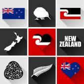 New Zealand Flat Icon Set