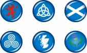 Set of vector graphic glossy buttons representing symbols and landmarks of Scotland