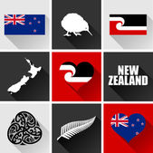 New Zealand Flat Icon Set