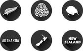 Set of vector graphic flat icons representing symbols and landmarks of New Zealand