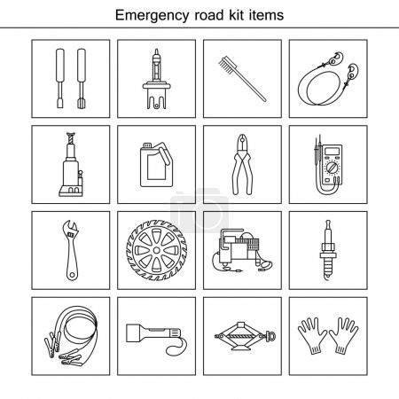 Illustration for Emergency road kit items. Flat line icons set. Auto mechanic tools. Isolated background. - Royalty Free Image