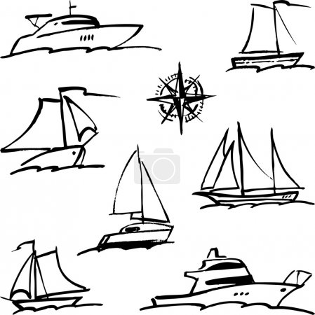 sketches of ships