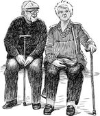 elderly couple resting
