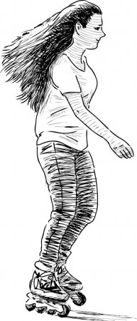 Illustration for Vector drawing of the girl rollerblading. - Royalty Free Image