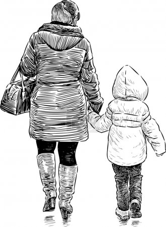 mother and kid on a walk