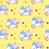 mystical cute pegasus vector pattern cartoon 03