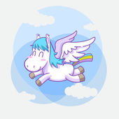Mystical cute pegasus vector cartoon