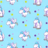 Mystical cute pegasus vector pattern cartoon