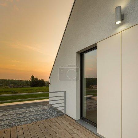 Terrace with wooden floor
