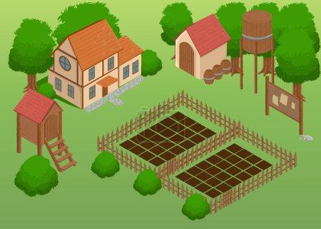 Isometric farm. Elements for game. Farm elements.Garden Detailed illustration of a Isometric Farm Farm toy blocks modeling