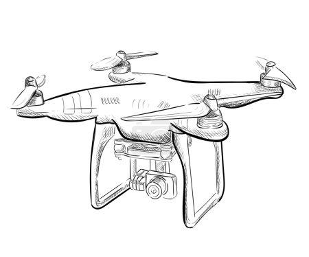Illustration pour Illustration vectorielle dessin à la main véhicule aérien quadrocopter. Drone pneumatique planant. Croquis de drone . - image libre de droit