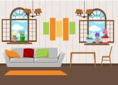 Krásné designové prvky, vektorové ilustrace nábytku obývacího pokoje v polovině století moderní styl