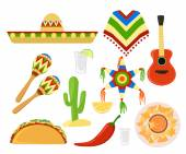 Mexico set cinco de mayo Sombrero maracas and jalapeno
