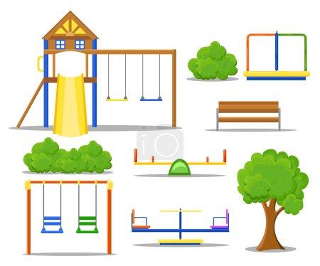 Illustration pour Icônes plates de terrain de jeu avec carrousels balançoires glissières et escaliers isolés . - image libre de droit