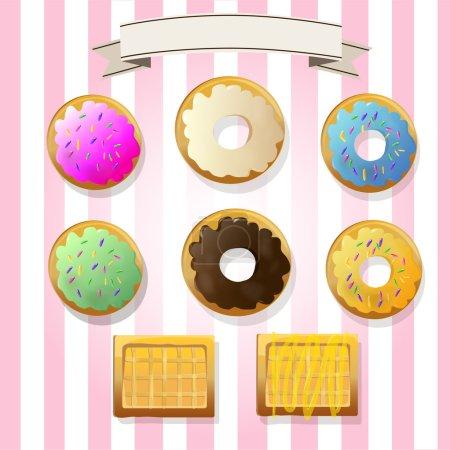 Illustration pour Six beignets et deux galettes - image libre de droit