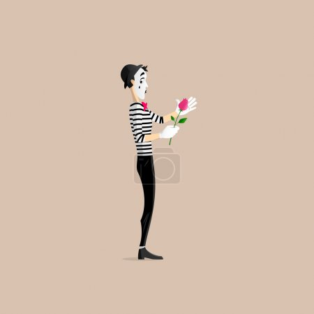 A Mime performing a pantomime covering a flower - ...