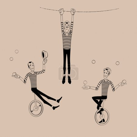 A set of Mimes performing a pantomime...