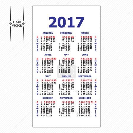 2017 pocket calendar. Template calendar grid.