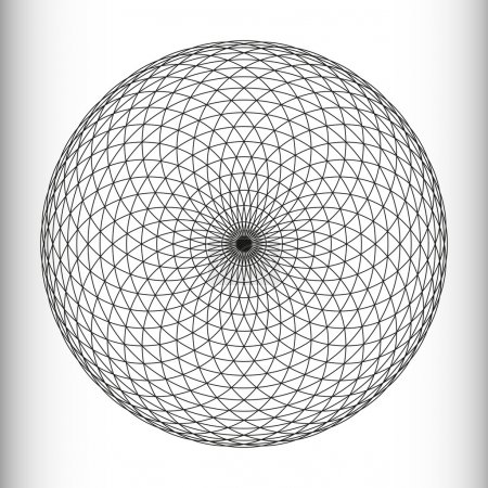 Illustration for Monochrome elegant circular pattern in black and white. Circular mathematical ornament. A vector circular pattern from the crossed circles. Mandala. - Royalty Free Image