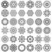 Decorative design elements Circle ornament Set of 36 vector circular patterns florets snowflakes asterisks for decoration of your works