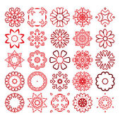 Decorative design elements Circle ornament Set of vector circular patterns florets snowflakes asterisks for decoration of your works