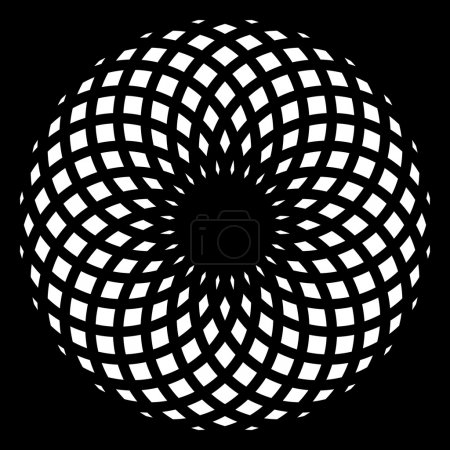 Monochrome elegant pattern. Black and white geometric circular pattern.