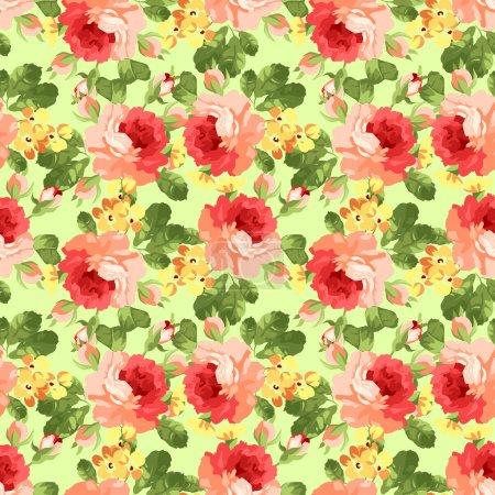 Vintage floral pattern with red roses