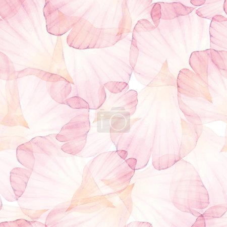 Illustration for Watercolor Seamless pattern. Pink flower petals. Vectorized watercolor drawing. - Royalty Free Image
