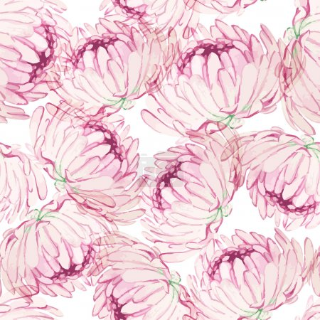 Illustration for Watercolor seamless pattern with pink chrysanthemums - Royalty Free Image