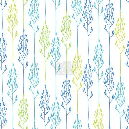 Illustration pour Motif floral sans couture avec des épillets - image libre de droit