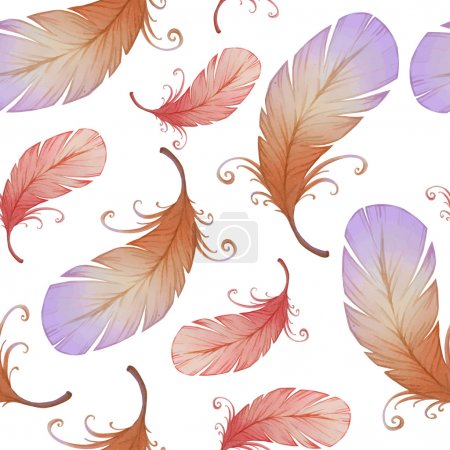 Watercolor seamless pattern with bird feathers.