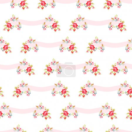 Pattern with pink roses and ribbons