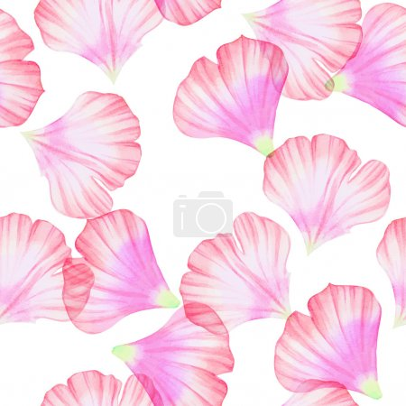 Illustration for Watercolor Seamless pattern with Pink flower petals Vectorized watercolor drawing. - Royalty Free Image
