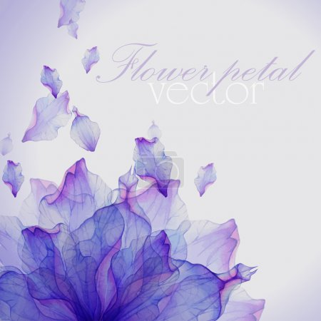 Illustration for Watercolor card with Purple flower petal. Vectorized watercolor drawing. - Royalty Free Image