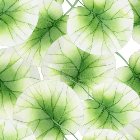 Illustration for Watercolor Seamless floral pattern with lotus leaves - Royalty Free Image
