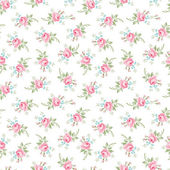 Seamless floral pattern with little flowers pink roses vector floral illustration in vintage style