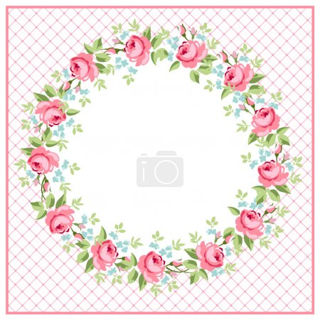 Illustration for Beautiful floral Greeting round card with red roses - Royalty Free Image