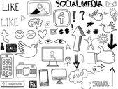 Hand-drawn Social Media Elements Vector