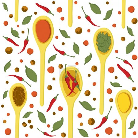 Seamless pattern with hand drawn spices and spoons on white background