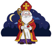 Saint Nicholas ( Sint ) with his staff and big book of names.