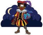 Zwarte Piet Holding a present