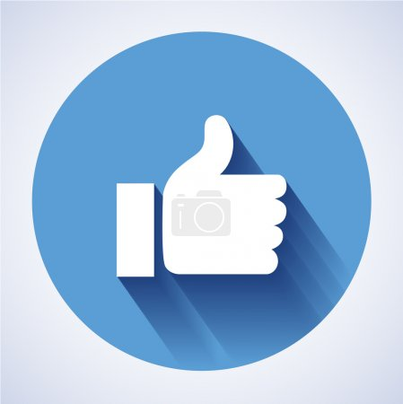 Concept vector- glossy, stylish social media like hand icon(Symbol). The illustration shows a shiny like sign or icon used in social media websites like facebook. Facebook new like icon